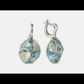 Серьги с бриллиантами, топазами и зелеными аметистами, белое золото