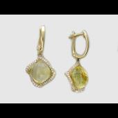 Серьги на швензе с цитрином и бриллиантами по периметру, желтое золото