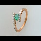 Кольцо с изумрудом Груша и бриллиантами, красное золото