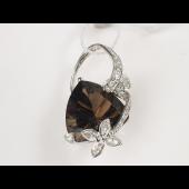 Кулон с треугольным камнем и бриллиантами, белое золото