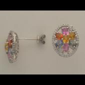 Серьги Цветок с бриллиантами и фантазийными сапфирами, белое золото