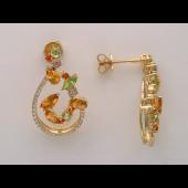 Серьги Цветок с бриллиантами, перидотом, цитрином, топазом, раухтопазом, желтое золото