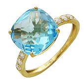 Кольцо с крупным квадратным топазом (раухтопазом), желтое золото