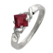 Кольцо с квадратным сапфиром (рубином), белое золото