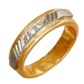 Кольцо с тремя бриллиантами, комбинированное золото