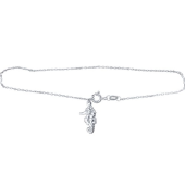 Браслет на ногу с подвеской Морской Конек на якорной цепочке, серебро