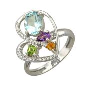 Кольцо Сердце с бриллиантами и цветными камнями (топаз, аметист, хризолит, цитрин), белое золото