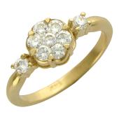 Кольцо Бриллиантовый Цветок, желтое золото 750 проба