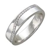 Кольцо обручальное с бриллиантами, белое золото 3.9мм