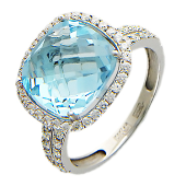 Золотое кольцо с полудрагом формы бриолетт антик и фианитами вокруг, белое золото