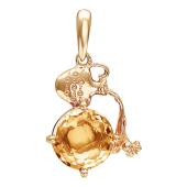 Кулон знак зодиака Водолей с круглым полудрагоценным камнем, красное золото 585 проба