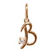 Буква В с фианитом, красное золото