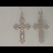Крест православный с алмазными гранями, белое золото 29 мм