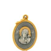 Икона Казанская, Оградительная молитва в овальном окладе с золотым покрытием, серебро