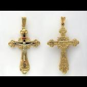 Крест православный крупный с эмалью, желтое и белое золото ~ 40 мм