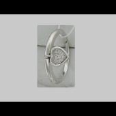 Кольцо с подвеской Сердце с бриллиантами, белое золото