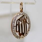 Кулон Имя Аллаха в овале с фианитами, красное золото 20мм