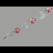 Браслет декоративный Розы с эмалью, серебро