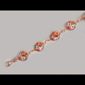 Браслет с расписными шариками с розами, эмаль, серебро с позолотой