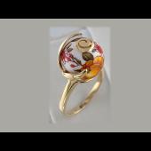 Кольцо Шар с расписными оранжевыми розами, эмаль, серебро с позолотой