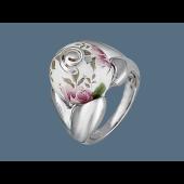 Кольцо Шар с расписными розовыми розами, эмаль, серебро