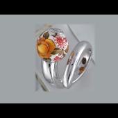 Кольцо Шар с расписными оранжевыми розами, эмаль, серебро