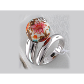 Кольцо Лилия с расписным шариком, серебро с эмалью