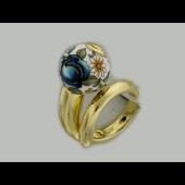 Кольцо Шар с расписными синими розами, эмаль, серебро с покрытием из желтого золота