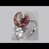 Кольцо Шар с расписными красными розами, эмаль, серебро