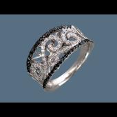Кольцо ажурное с чёрными и прозрачными фианитами, серебро