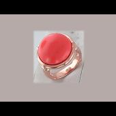 Кольцо с овальным кораллом, серебро с позолотой