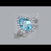 Кольцо Принцесса с топазом и фианитами, серебро