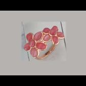 Кольцо Цветы с розовым кошачим глазом, серебро с позолотой