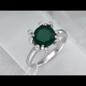 Кольцо Космос с зеленым агатом и фианитами, серебро
