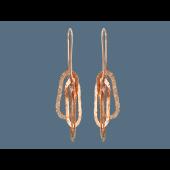 Серьги длинные, серебро с золотым покрытием