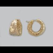 Серьги Цветы резные, серебро с золотым покрытием