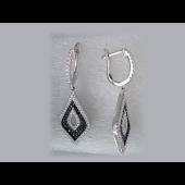 Серьги длинные с прозрачными и черными фианитами, серебро