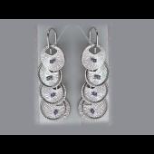 Серьги длинные  с фиолетовыми фианитами, серебро