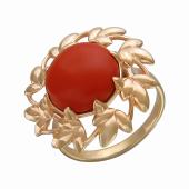 Кольцо Клен с кораллом (или бирюзой), серебро с позолотой