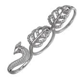 Кольцо широкое на три пальца Жар-Птица с фианитами, серебро