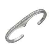 Кольцо Дорожка с фианитами для двух пальцев, серебро