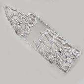 Кольцо фаланговое на весь палец Пламя с фианитами, серебро