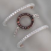 Кольцо тройное с прозрачными и коричневыми фианитами, серебро