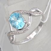 Кольцо с топазом (или раухтопазом или аметистом) и фианитами, серебро