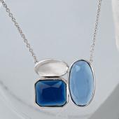 Колье Асимметрия с синими фианитами на якорной цепи, серебро