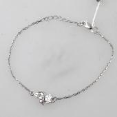 Браслет для мамы Девочка с Котом из серебра на тонкой цепочке