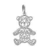 Кулон Мишка ажурный финифть из серебра с фианитами
