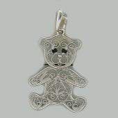 Кулон Мишка ажурный финифть с фианитами, серебро