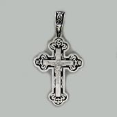 Крест православный с лепестками и черной эмалью, серебро