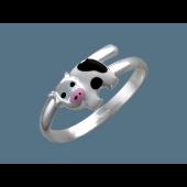 Кольцо детское Коровка с эмалью, серебро
